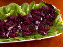 Beet salad on green leaves. Homemade beat salad on green leaves Royalty Free Stock Photography