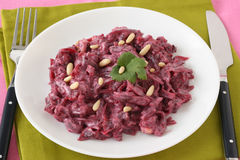 Beet salad with nuts Stock Images