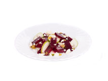 Beet salad with pear and feta cheese. stock photo