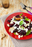 Beet salad with pears and cheese Royalty Free Stock Images