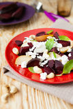Beet salad with pears and cheese Royalty Free Stock Image