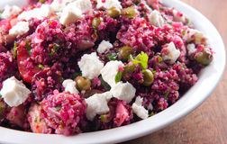 Beet salad, quinoa and chicken. A protein rich, healthy meal stock photos