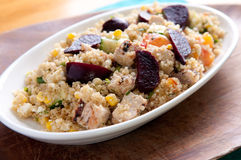 Beet salad with quinoa and chicken Royalty Free Stock Images