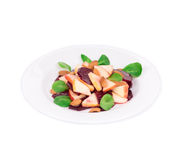 Beet salad with spinach and minced apple. Royalty Free Stock Image
