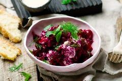 Beet salad with tahina sauce Royalty Free Stock Photos