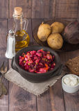 Beet salad Vinaigrette in a clay bowl Stock Photography