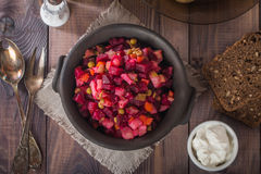 Beet salad Vinaigrette in a clay bowl Royalty Free Stock Photography