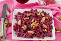 Beet salad with walnut Royalty Free Stock Images