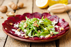 Beet salad with walnuts stock image