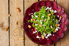 Beet salad with walnuts royalty free stock photography