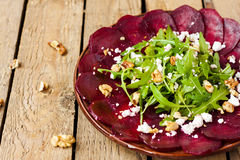 Beet salad with walnuts stock photos