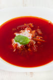 Beet soup with basil Royalty Free Stock Images