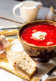 Beet soup with beans, garlic sour cream Stock Photography