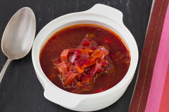 Beet soup in bowl Stock Photography