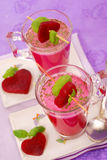 Beet soup with cream in glass Royalty Free Stock Photography