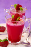 Beet soup with cream in glass Stock Photo