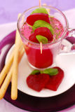 Beet soup with cream and grissini Stock Photography