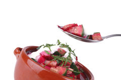 Beet soup and sour cream Stock Images
