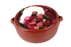 Beet soup and sour cream Royalty Free Stock Images