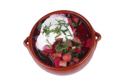 Beet soup and sour cream Stock Photography