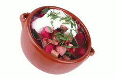Beet soup and sour cream Stock Image