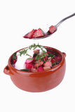 Beet soup and sour cream Royalty Free Stock Photography