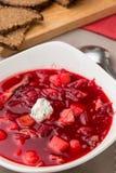 Beet soup in white bowl. Borsh Royalty Free Stock Image