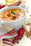 Beet soup in the white pot Stock Image