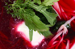 Beet summer cold soup with noodles Royalty Free Stock Image