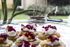 Beet toast rounds Stock Images