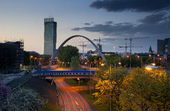 Beetham tower and Arch bridge. Beetham tower the tallest building in manchester and Hulme Arch bridge over princess road Stock Images