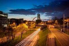 Beetham tower and Arch bridge. Beetham tower the tallest building in manchester and Hulme Arch bridge over princess road Royalty Free Stock Photo