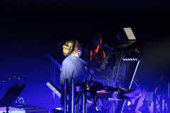 Beethoven 3D électrique d'abord vers la Pologne que le concert avec les effets 3D a exécutée par l'orchestre et les solistes de F Image libre de droits