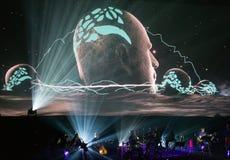 Beethoven 3D électrique d'abord vers la Pologne que le concert avec les effets 3D a exécutée par l'orchestre et les solistes de F Photo stock