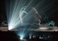 Beethoven 3D électrique d'abord vers la Pologne que le concert avec les effets 3D a exécutée par l'orchestre et les solistes de F Images libres de droits