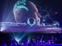 Beethoven 3D elettrico in primo luogo in Polonia che il concerto con gli effetti 3D ha eseguito dall'orchestra e dalle soliste di Fotografia Stock Libera da Diritti