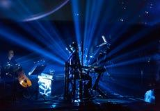 Beethoven 3D elettrico in primo luogo in Polonia che il concerto con gli effetti 3D ha eseguito dall'orchestra e dalle soliste di Fotografie Stock Libere da Diritti