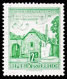 Beethoven House, Vienna-Heiligenstadt, Buildings. serie, circa 1960. MOSCOW, RUSSIA - FEBRUARY 10, 2019: A stamp printed in Austria shows Beethoven House, Vienna stock photography
