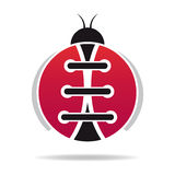 Beetle. The illustration shows a ladybug with shoe laces Royalty Free Stock Image