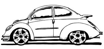 Beetle car. Hand drawn nice beetle car Royalty Free Stock Images