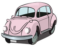 Beetle car. Pink beetle car clip art Royalty Free Stock Images