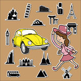 Beetle car around the world Stock Images