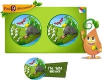 Beetle, caterpillar 9 differences. Visual game for children and adults. Task to find 9 differences in the summer illustration  with  forest insects Royalty Free Stock Photography