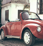 Beetle classic car. Red Beetle classic car background Royalty Free Stock Photo