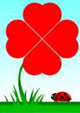 Beetle facing a red shamrock with four foils. (symbol of luck and love stock illustration