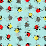Beetle ladybug seamless pattern, insects vector background. Red and yellow speckled bugs  striped  on a blue . For fabric design,. Beetle ladybug seamless Royalty Free Stock Photos