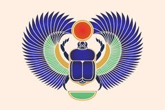 Beetle scarab with wings, sun and a crescent moon. Ancient Egyptian culture. God Khepri Sun morning dawn. The emblem, logo. Object. Beetle scarab with wings, sun Royalty Free Stock Image