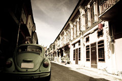 Beetle and town Royalty Free Stock Photos