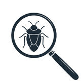 Beetle under the magnifying glass. Insect icon.  Royalty Free Stock Images