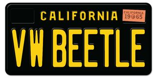 Beetle Volkswagen License Plate. VW Beetle Sign License Plate California Retro Black Metal Embossed 1965 old vintage royalty free illustration